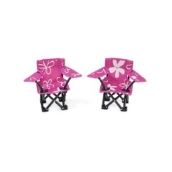 Camping Chair Accessories With Ottoman Cheap 18 Inch Doll Two Pink And White Flowered Shop Emily Rose