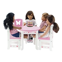 18 doll table and chairs garden chair covers wilko inch fits american girl dolls emily rose furniture butterfly collection 4 dining set