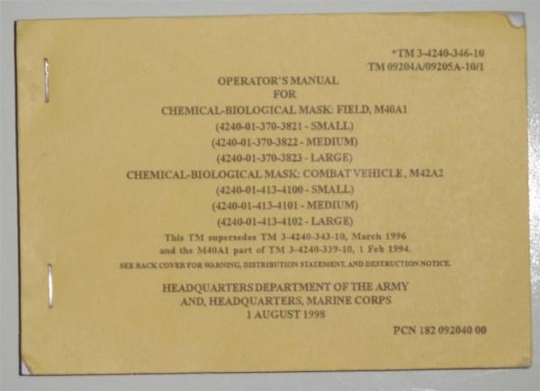 M40 M40a1 M42 M42a2 Nbc Cbrn Operator' Manual Tm