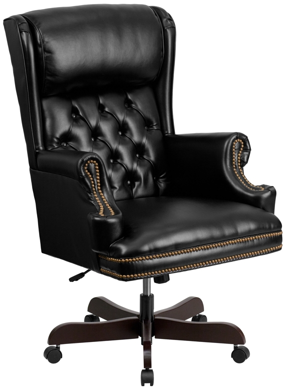 white leather swivel desk chair chairs under 100 high back black office classic traditional
