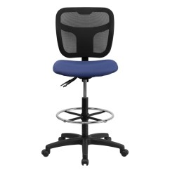 Mesh Drafting Chair Zero Gravity Recliner Chairs Mid Back Stool With Navy Blue Fabric Seat
