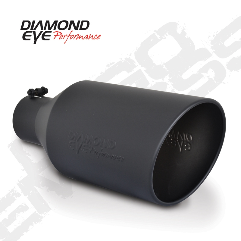 diamond eye 5818bra debk 8 bolt on rolled end angle cut black exhaust tip