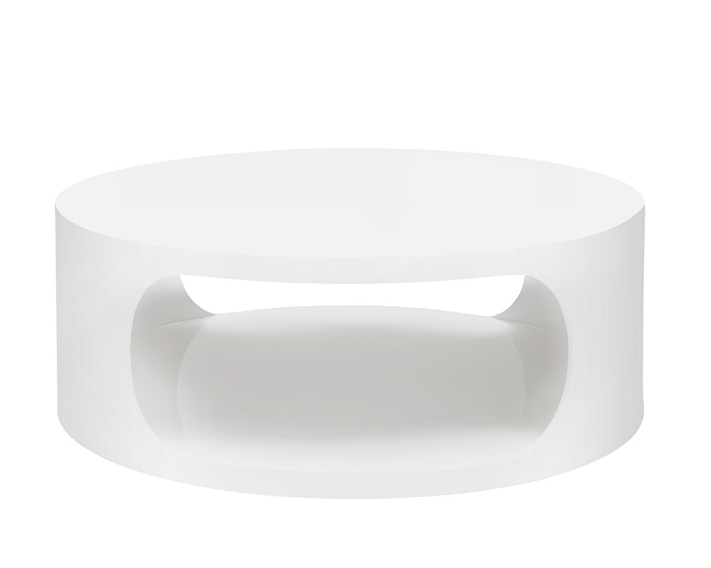 savino modern round coffee table white