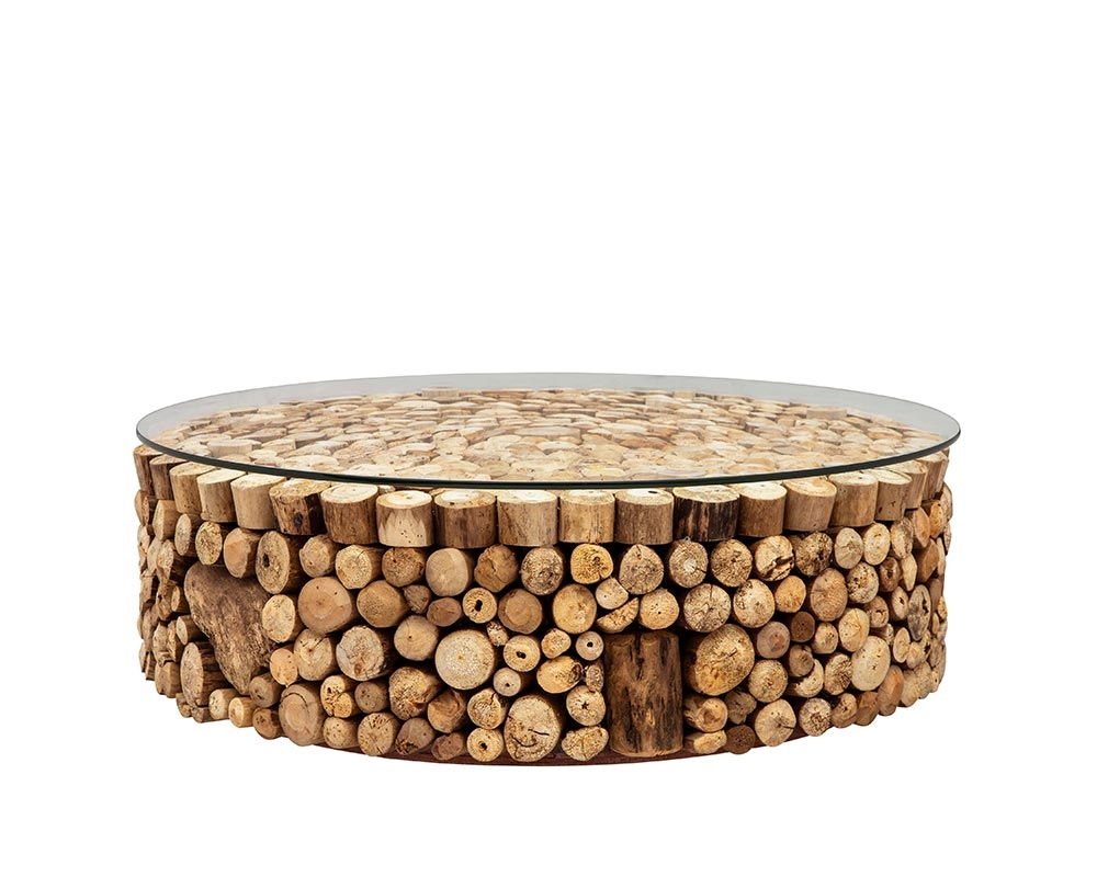 osimo driftwood with glass top modern round coffee table