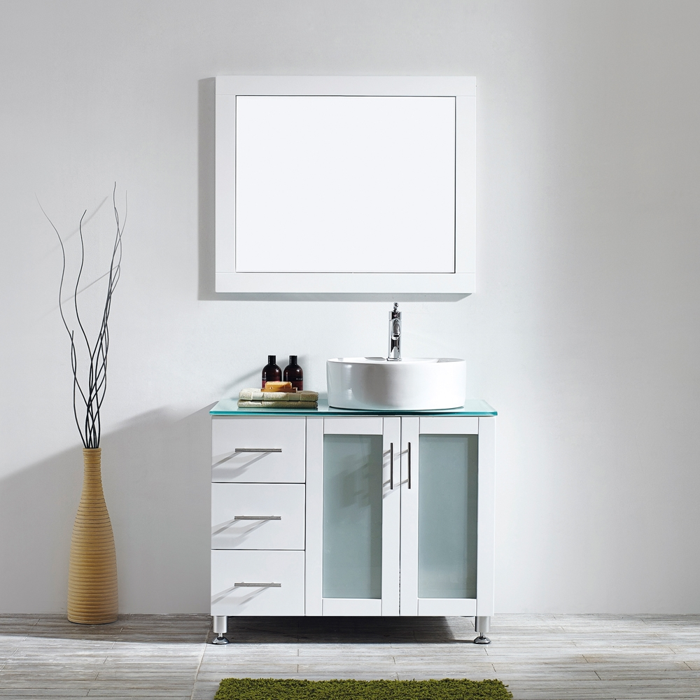 vinnova tuscany 36 inch vanity in white with glass countertop with white vessel sink with mirror right