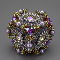 """Geo-Floral"" Beaded Bead Kit, purple & olivine"