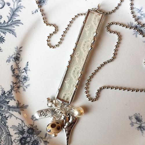 vintage lace charm necklace