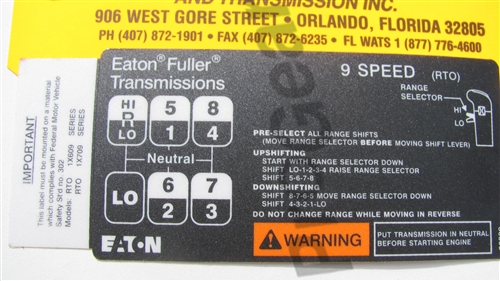 eaton fuller 9 speed transmission diagram programmable thermostat wiring overdrive shift pattern diagram. p/n: 20399