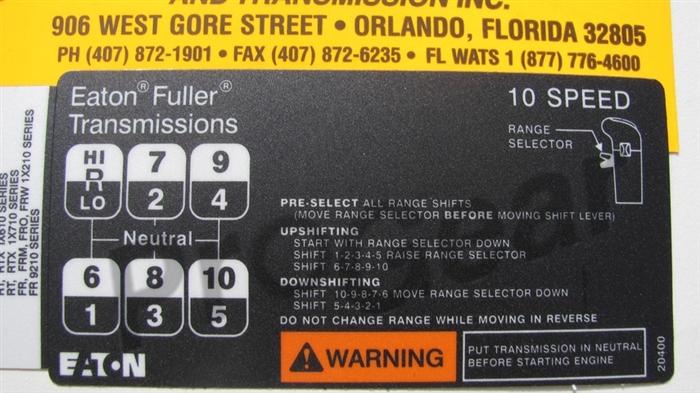 eaton fuller transmission diagram 1994 cal spa wiring 10 speed shift pattern p n 20400