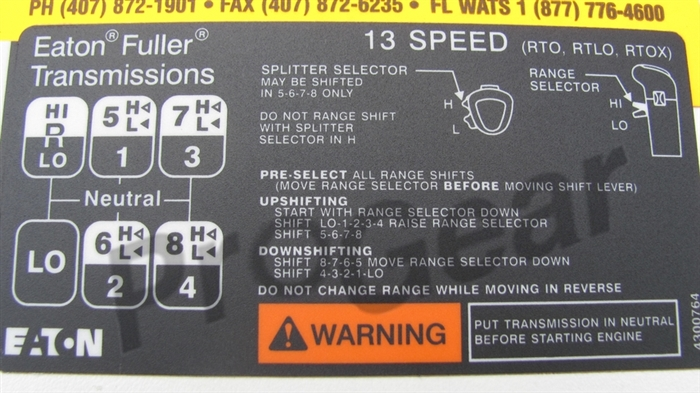 air shift 13 speed diagram chevy aveo stereo wiring rtlo pattern instructions eaton fuller list price 29 99