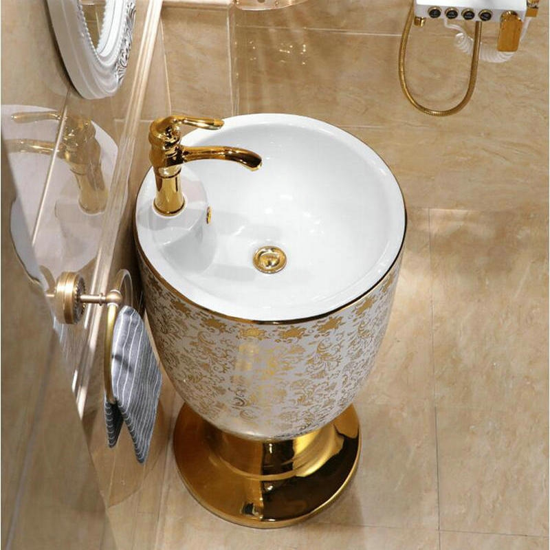 deauville cup basin round pedestal sink in white and gold floral pattern sink only