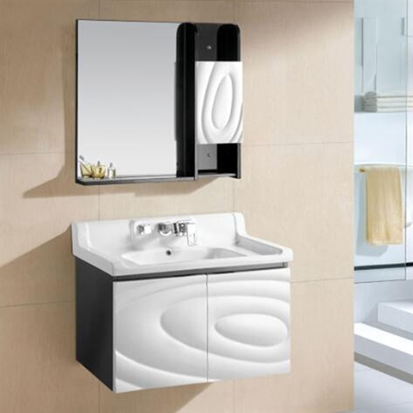 Buy Miami Wall Mount Bathroom Vanity In Black And White Abstract Design With Ceramic Sink And Mirror