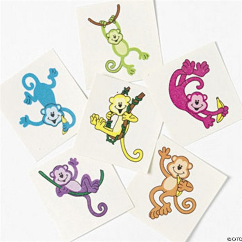 assorted neon monkey tattoos