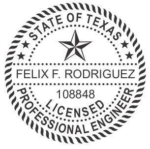 Texas Professional Engineer Round Self-Inking Stamp, 1-5/8