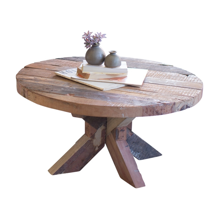 coffee table round recycled wood