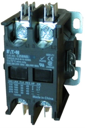 C25BNB230T Eaton Definite Purpose 2 pole Contactor rated at 30 AMPS with a 24v5060Hz AC coil