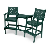 tete a chair outdoor with side table modern lawn garden patio furniture bar height chippendale wide slat back