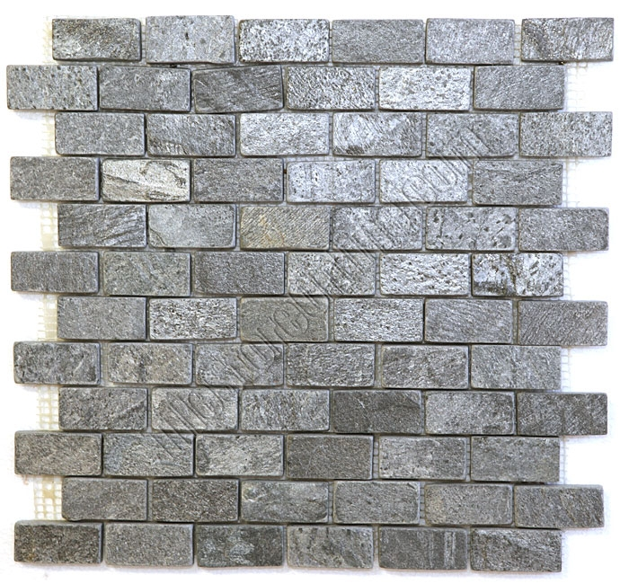 slate mosaic 1 x 2 ostrich gray quartz slate brick subway mosaic tumbled