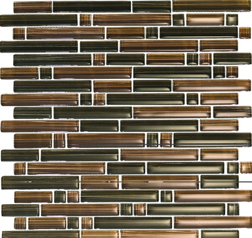glass tile mixed size strips bellavita bamboo glass tile mosaic bs012 chocolate caramel blend glossy