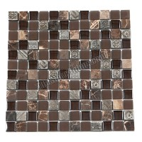 Glass Stone and Metal Mosaic - 1 X 1 GS1005 - Glass Tile ...