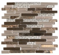 Linear Glass Stone and Metal Mosaic