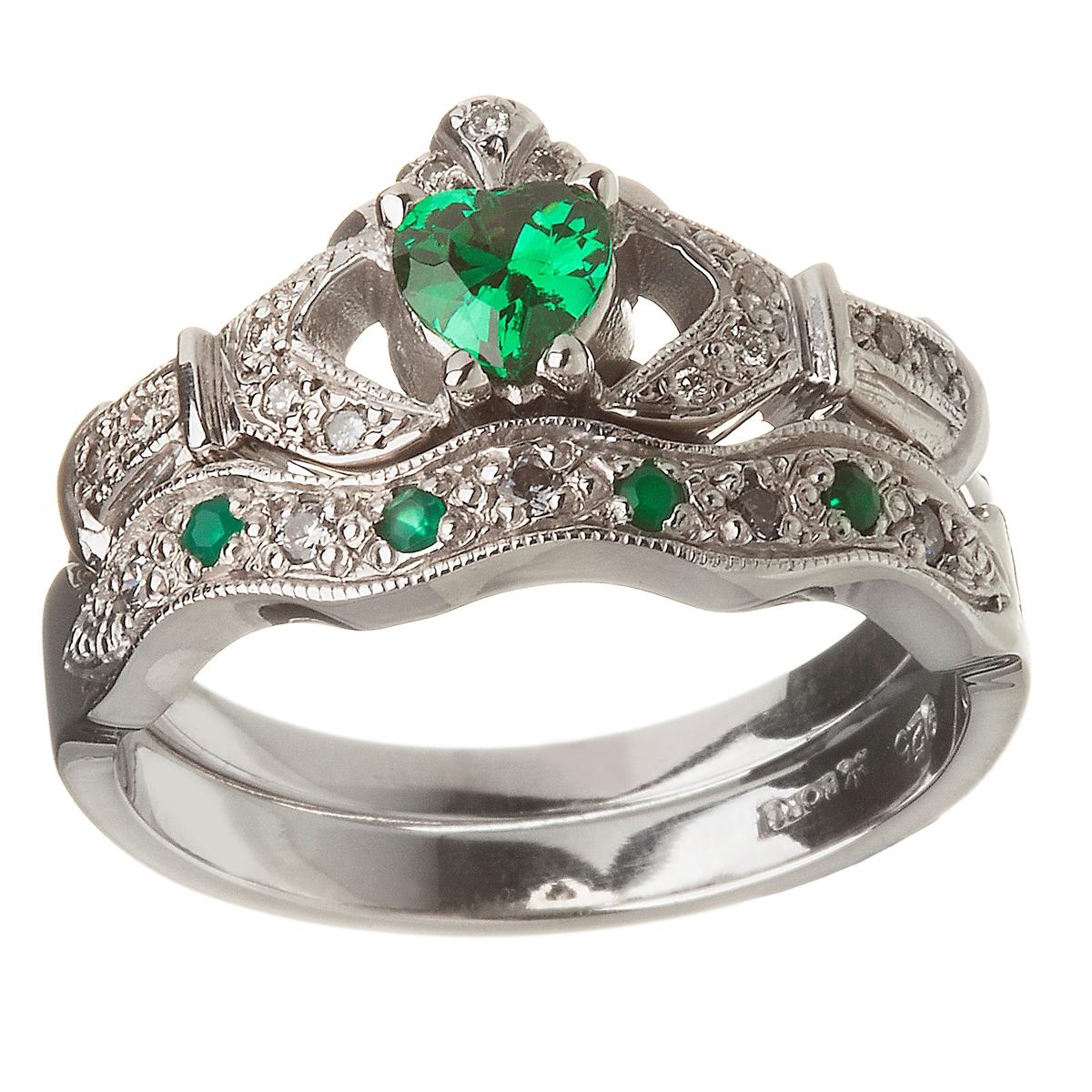 14k White Gold Emerald Set Heart Claddagh Ring & Wedding