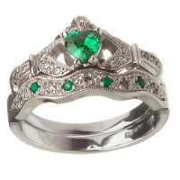 14k White Gold Emerald Set Heart Claddagh Ring & Wedding