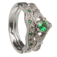 14k White Gold Emerald Set Heart Claddagh Ring & Wedding ...