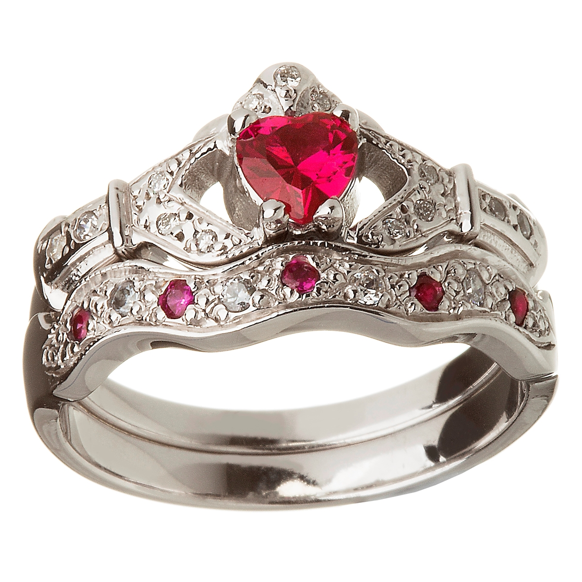 14k White Gold Ruby Set Heart Claddagh Ring & Wedding Ring Set