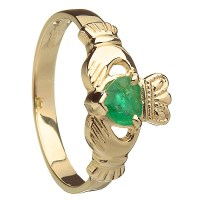14k Yellow Gold Emerald Heart Ladies Claddagh Birthstone