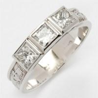 14k White Gold 3 Stone Ladies Diamond Claddagh Ring