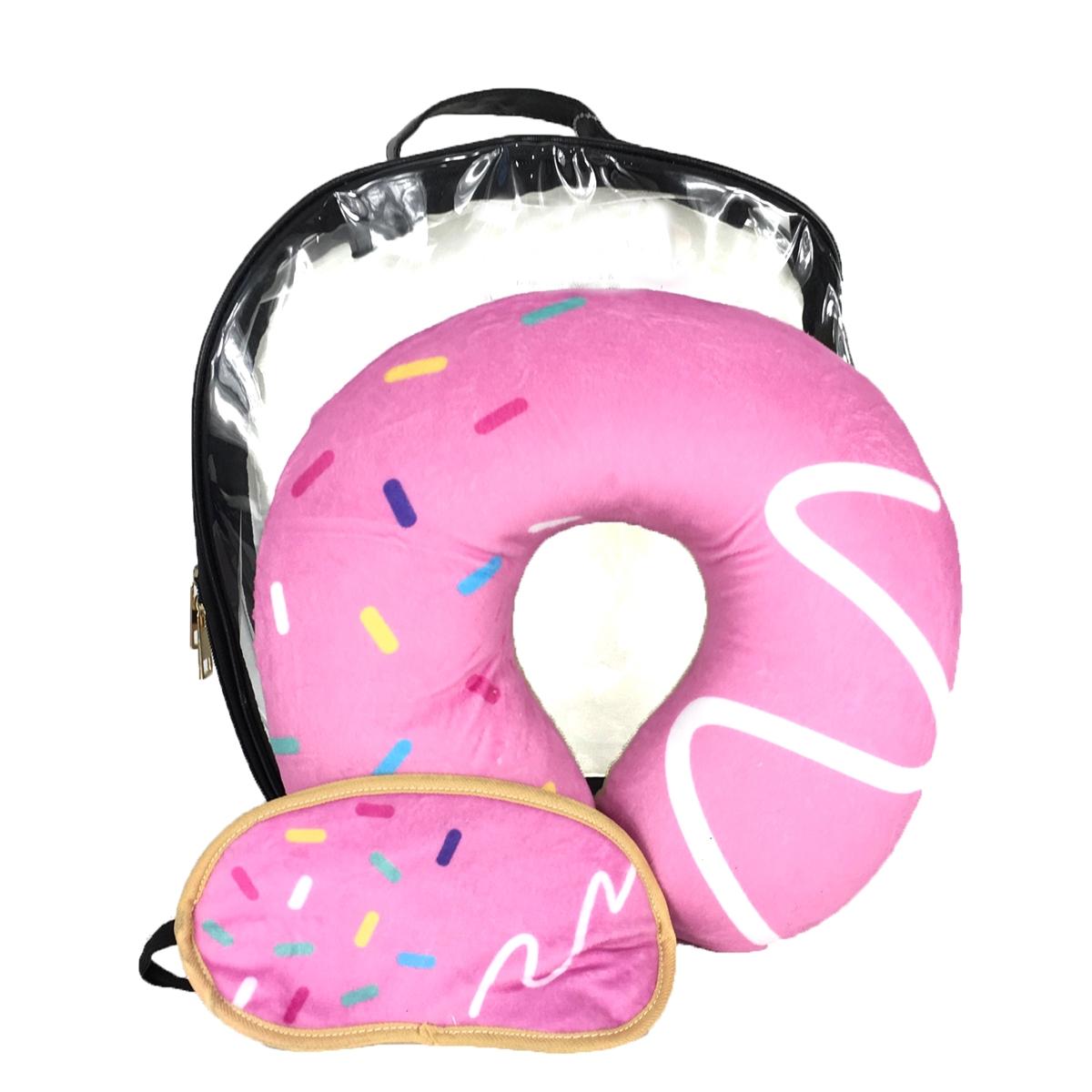 sprinke donut neck pillow eye mask clear travel case set