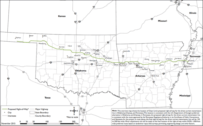 The DOE-approved route for the Eastern & Plains line, developed by Clean Line Energy Partners.