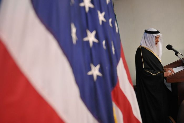 Saudi Arabia's Prince Turki al-Faisal, a chief architect of the modern U.S.-Saudi partnership, speaks at the National Press Club in Washington, D.C. (Mandel Ngan/AFP/Getty Images)