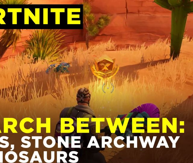 Search Between An Oasis Rock Archway And Dinosaurs Fortnite Challenge Location Guide Season  Polygon