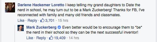 Zuckerberg's response to 'girl should date nerd'