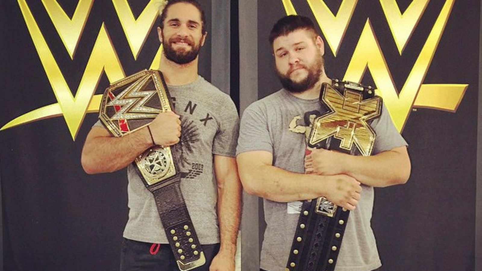 Enjoy this picture of Seth Rollins and Kevin Owens