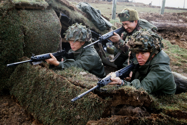 Gurkha troops, dug in on a hillside at San Carlos Bay, during the final stages of the Falklands War.