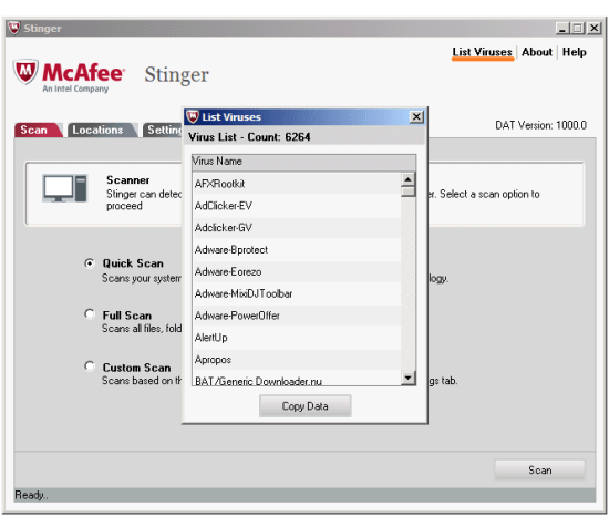 Вирус - McAfee Stinger - Список вирусов - WindowsWally