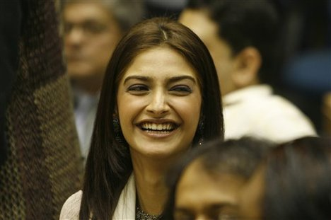 Bollywood actor Sonam Kapoor looks on during the 55th National Film Awards, in New Delhi, India, Wednesday, Oct. 21, 2009.