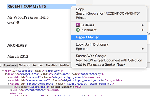 Using Inspect Element tool in Google Chrome to find CSS classes