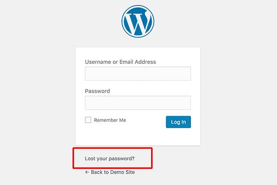 Kehilangan tautan kata sandi Anda di layar masuk WordPress