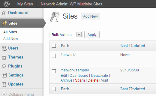Managing sites in a WordPress multisite network