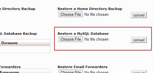Restoring MySQL database backup in cPanel