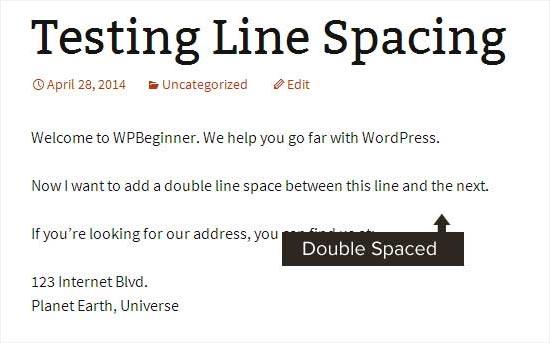 Không gian dòng đôi được thêm vào để tạo đoạn văn trong WordPress