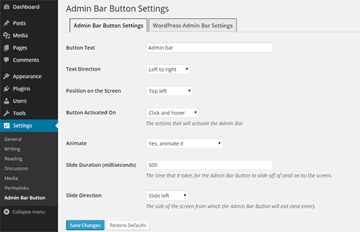 Configure the admin bar button settings