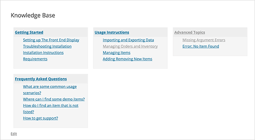 Styled knowledge base page in WordPress