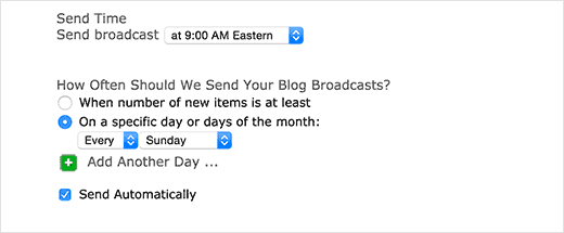 Set email timings and frequency in Aweber