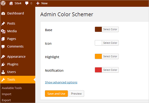 Admin Color Schemer plugin