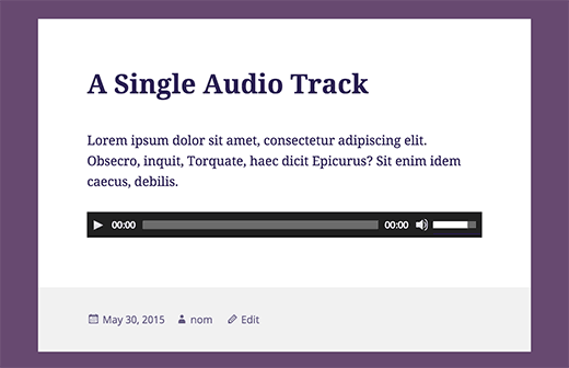 Một tệp âm thanh duy nhất được thêm vào trong một bài đăng WordPress